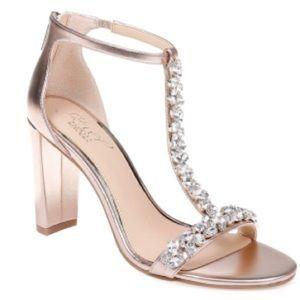 Jewel Badgley Mischka Morley Gold Heel Sandals